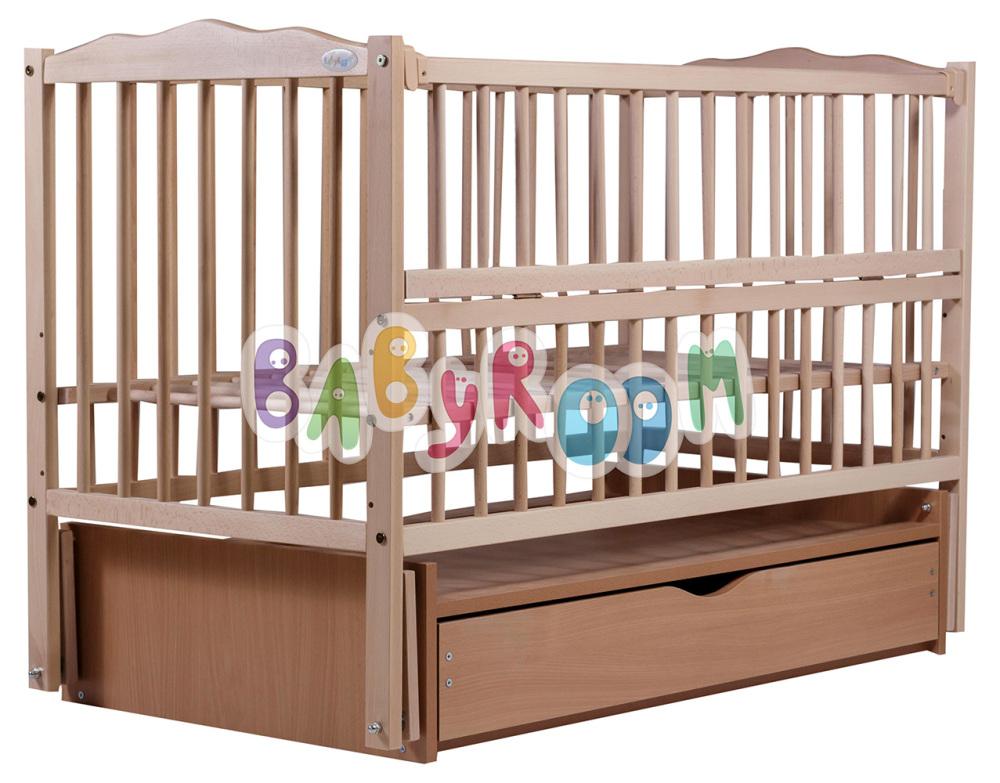 Кровать Дубок Веселка маятник, ящик, откидной бок DVMYO-3 бук без лака