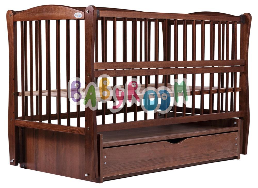 Кровать Дубок Еліт резьба маятник, ящик, откидной бок DER-7 бук орех