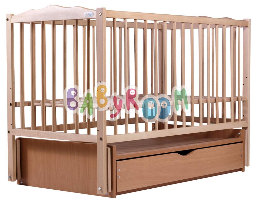 Кровать Дубок Веселка маятник, ящик DVMY-4 бук без лака